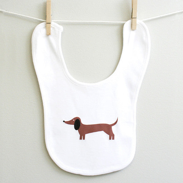 Dachshund baby bib for baby boy or baby girl - squarepaisleydesign