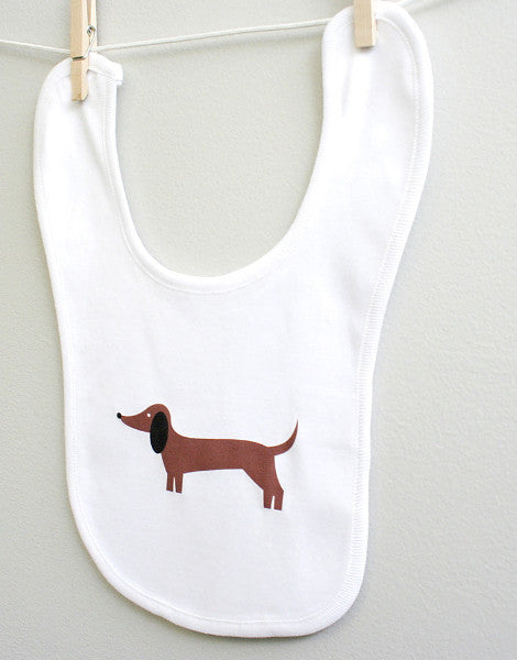 Dachshund Baby Burp Bib for Baby Boy or Baby Girl - square paisley design
