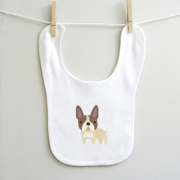 French Bulldog Baby Burp Bib for Baby Boy or Baby Girl - square paisley design