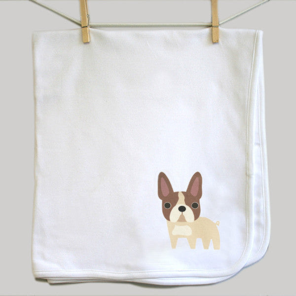 French Bulldog swaddle baby blanket - squarepaisleydesign