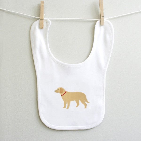 Golden Retriever Baby Bib for Baby Boy or Baby Girl - square paisley design