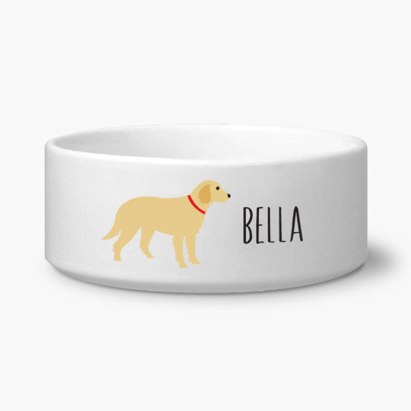 Golden Retriever Ceramic Dog Bowl Personalized With Your Dog's Name