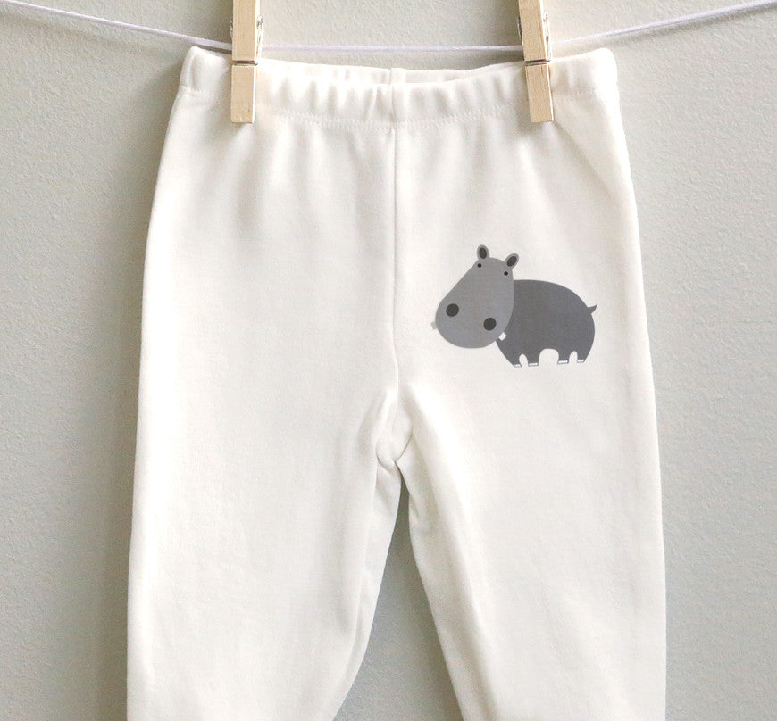 Hippo Baby Clothes | Hippo Baby Footed Pants - square paisley design