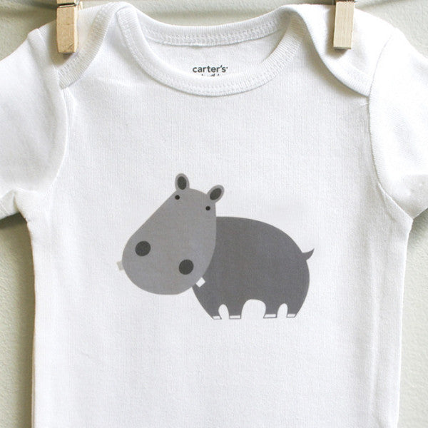 Hippo baby one-piece - squarepaisleydesign