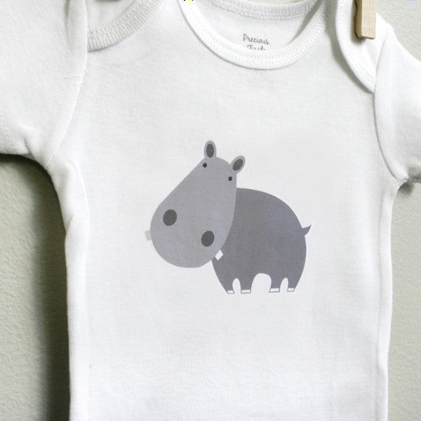 Hippo Baby Clothes, Hippo Baby Bodysuit - square paisley design