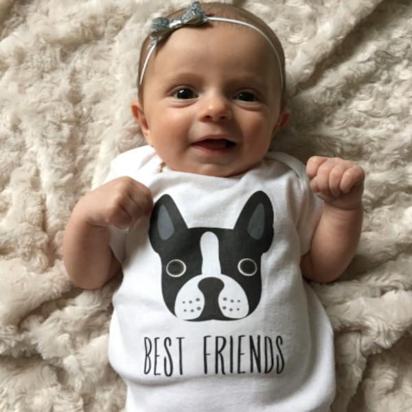 Best Friends Boston Terrier Baby Onesie Bodysuit Romper for Baby Boy or Baby Girl Long or Short Sleeve 3, 6, 9, 12 Months - square paisley design