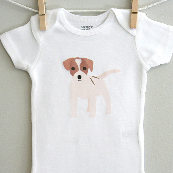 Jack Russell Baby Clothes | Jack Russell Baby Bodysuit - square paisley design