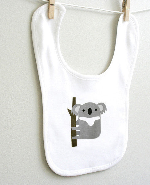 Koala Baby Bib for Baby Boy or Baby Girl - square paisley design