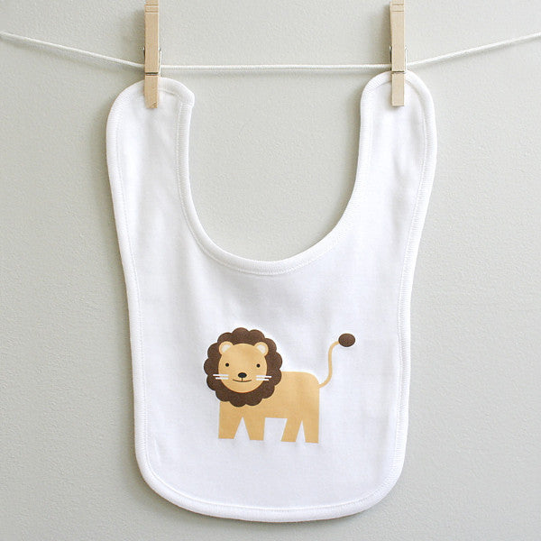 Lion Baby Burp Bib for Baby Boy or Baby Girl - square paisley design