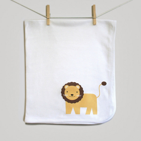 Lion Baby Swaddle Baby Blanket for Baby Boy or Baby Girl. Perfect Baby Shower Gift - square paisley design