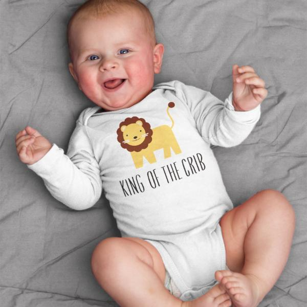 King of the Crib Lion Baby Bodysuit Romper One Piece for Baby Boy or Baby Girl Long or Short Sleeve 3, 6, 9, 12 Months - square paisley design