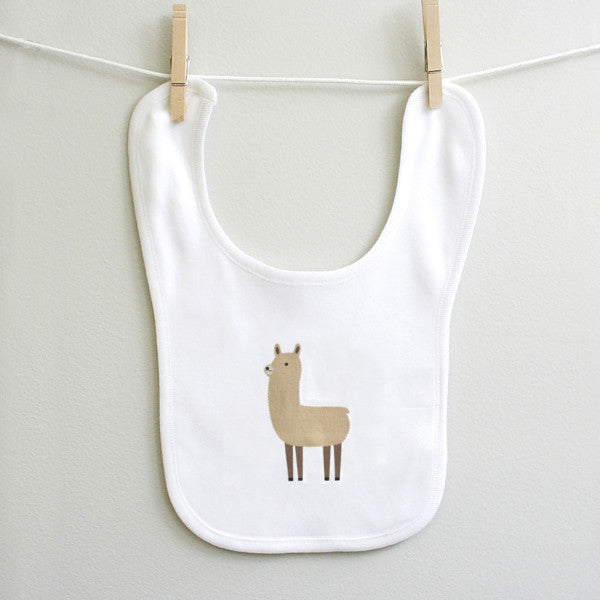 Cute Llama cotton baby bib - squarepaisleydesign