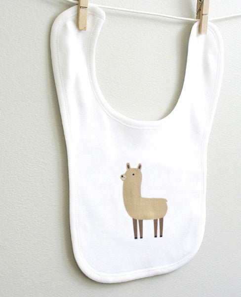 Llama Baby Burp Bib for Baby Boy or Baby Girl - square paisley design