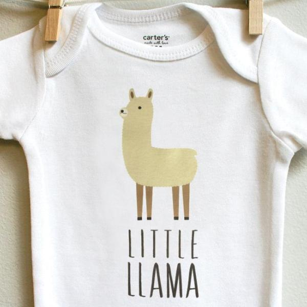 Little Llama Baby Bodysuit Romper for Baby Boy or Baby Girl Long or Short Sleeve 3, 6, 9, 12 Months - square paisley design