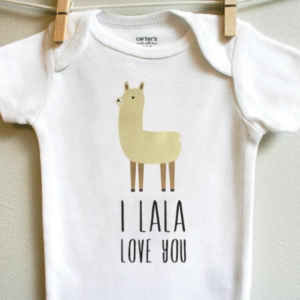 I La La Love You Llama Baby Bodysuit Romper One Piece for Baby Boy or Baby Girl Long or Short Sleeve 3, 6, 9, 12 Months - square paisley design