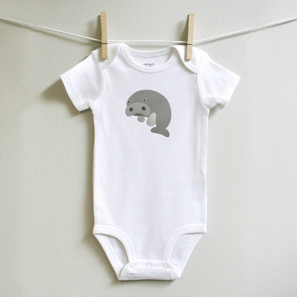 Manatee Baby Clothes Bodysuit Romper One Piece for Baby Boy or Baby Girl Long or Short Sleeve 3, 6, 9, 12 Months - square paisley design