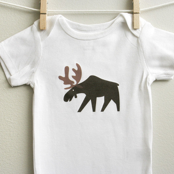 Moose Baby Onesie Bodysuit Romper for Baby Boy or Baby Girl Long or Short Sleeve 3, 6, 9, 12 Months - square paisley design