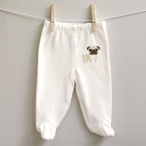 Pug Baby Pants - square paisley design
