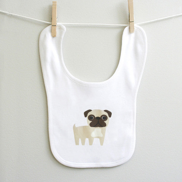 Pug Baby Bib for Baby Boy or Baby Girl 100% Cotton Velcro Hook and Loop Tab - square paisley design