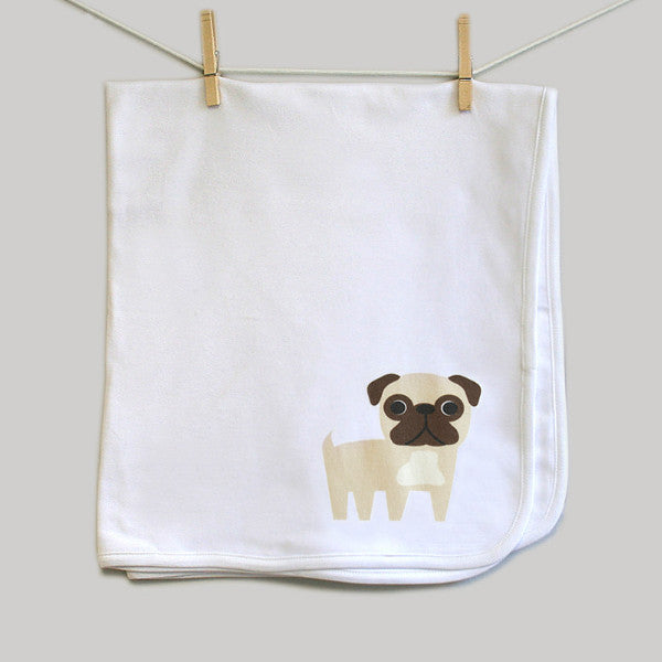 Pug Infant Swaddle Baby Blanket for Baby Boy or Baby Girl - square paisley design
