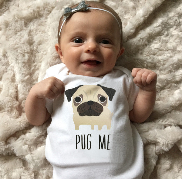 Pug Baby Clothes, Pug Baby Bodysuit for Baby Boy or Baby Girl - square paisley design