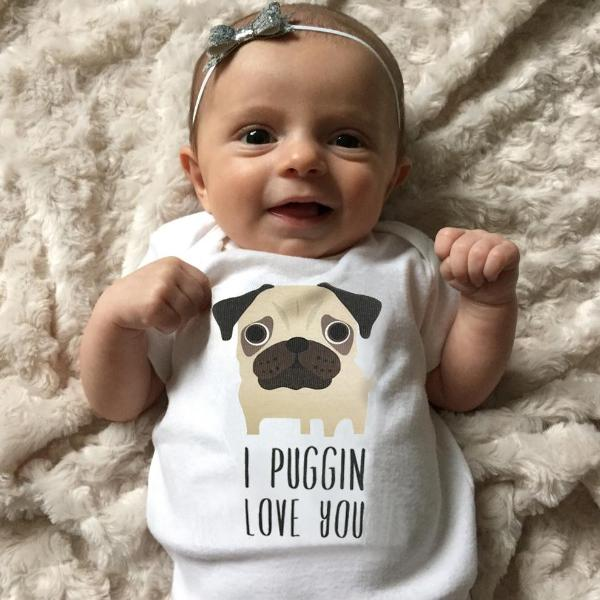 I Puggin Love You Pug Baby Bodysuit Romper One Piece for Baby Boy or Baby Girl Long or Short Sleeve 3, 6, 9, 12 Months - square paisley design