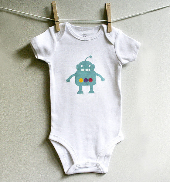 Robot Baby Boy Bodysuit Romper One Piece, Long or Short Sleeve, 3,6,9,12 Months - square paisley design