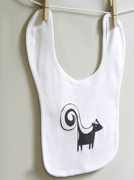 Skunk Cotton Baby Burp Bib for Baby Boy or Baby Girl - square paisley design