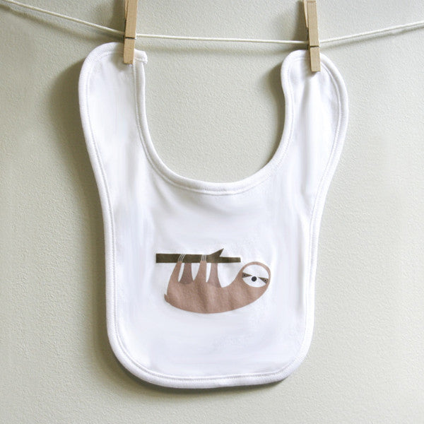 Sloth Baby Burp Bib - square paisley design