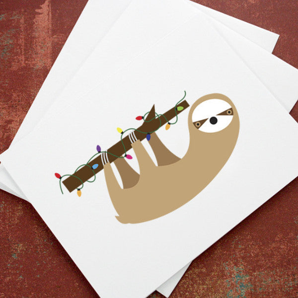 sloth christmas cards