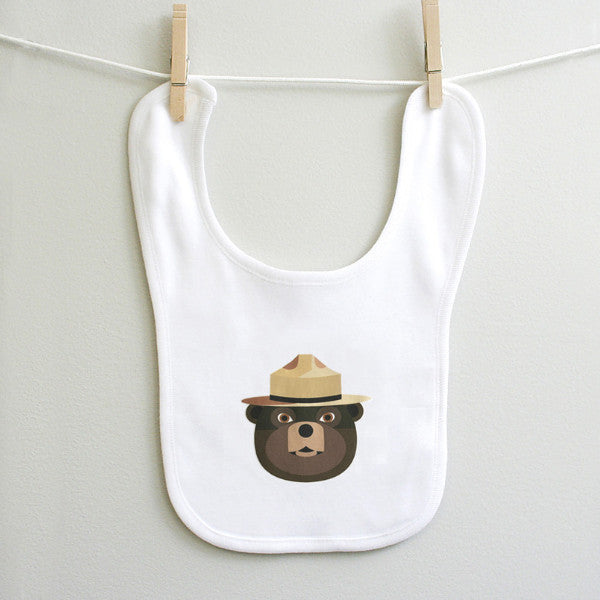 Smokey the Bear Baby Bib for Baby Boy or Baby Girl - square paisley design