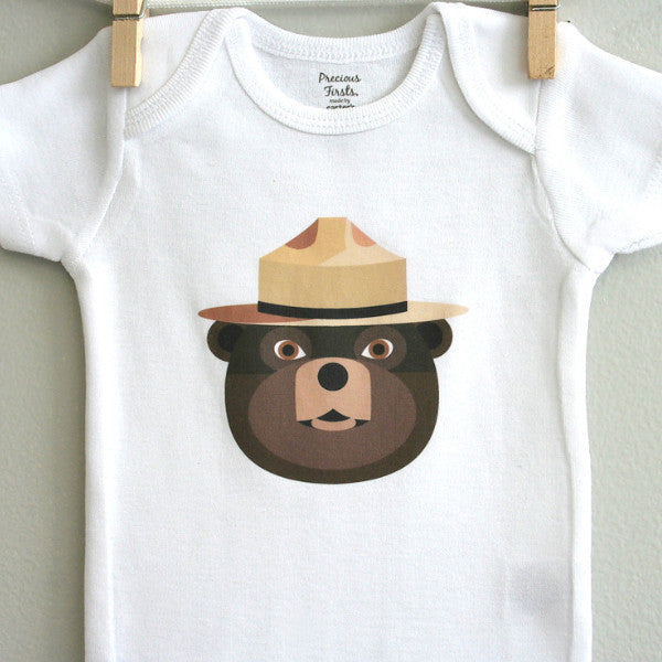 Smokey the Bear baby bodysuit - squarepaisleydesign