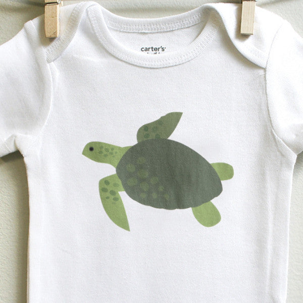 Green Sea Turtle Baby Bodysuit for Baby Boy or Baby Girl - square paisley design