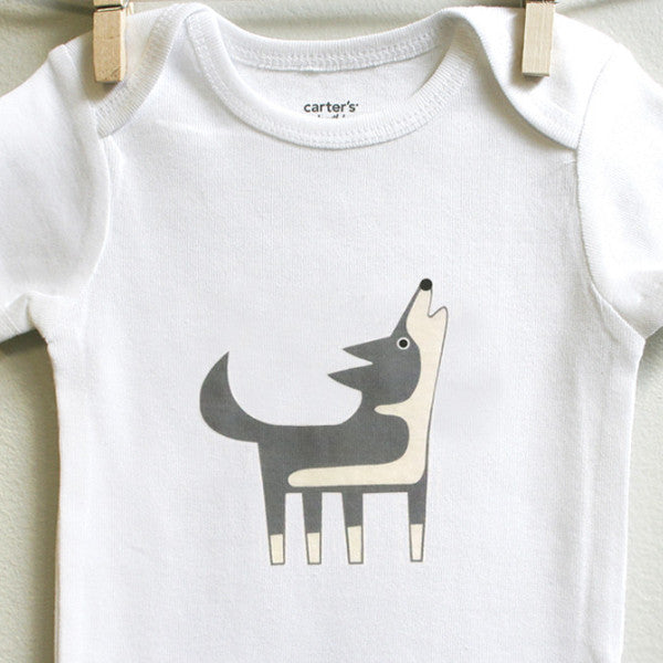 Wolf Baby Clothes for Baby Boy or Baby Girl - square paisley design