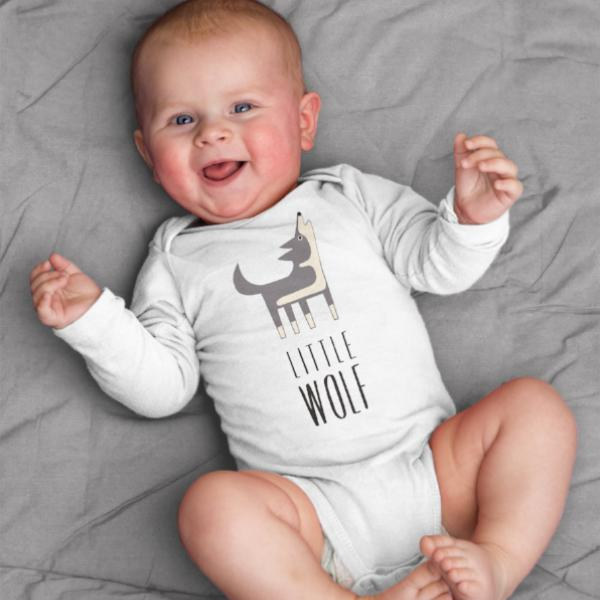 Little Wolf Baby Bodysuit Onesie Romper for Baby Boy or Baby Girl Long or Short Sleeve 3, 6, 9, 12 Months - square paisley design