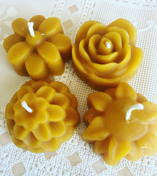 100% Pure Bees Wax Candle- Flowers