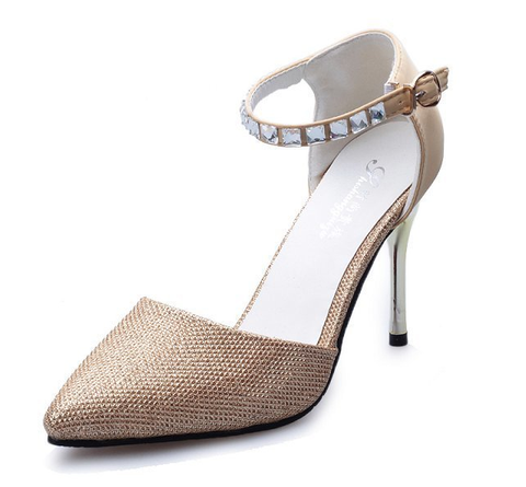 Womens Elegant Studded Strap High Heels