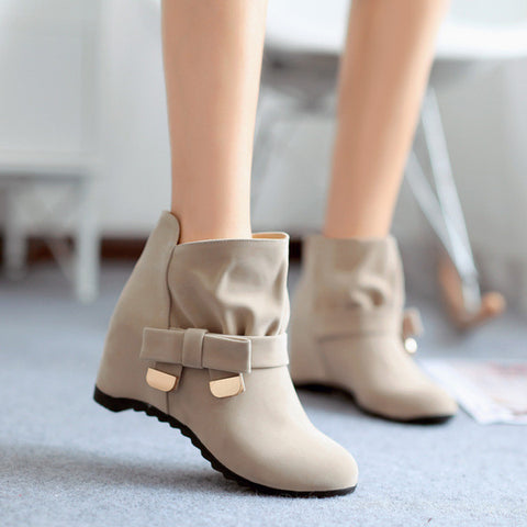 Lovely Ribbon Mid Calf Wedge Ankle Boots