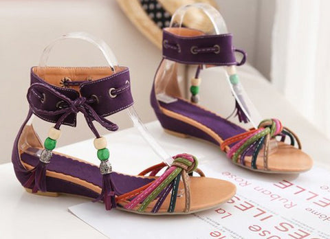 Beautiful Ankle Strap Bead Sandals