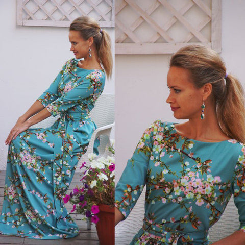 Beautiful Floral Mid Sleeve Long Maxi Dress