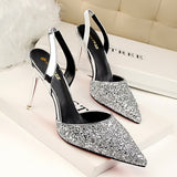 Beautiful Sequin Point Toe Slingback Dress Heels