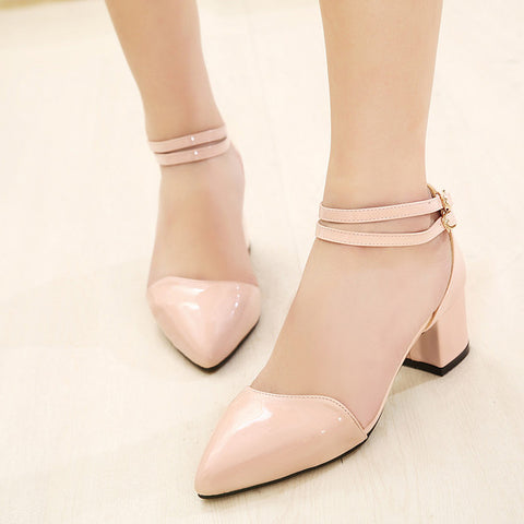 Beautiful Point Toe Double Ankle Strap Chunky Low Heels
