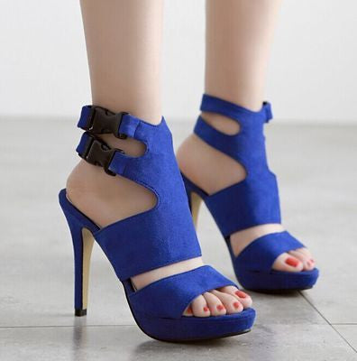 Trendy Ankle Buckle Open Toe Heels