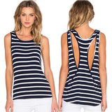 Casual Scoop Neck Stripe Stretch Top