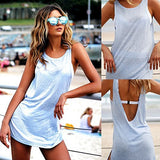 Stylish Casual Open V-Back Summer Beach Mini Dress