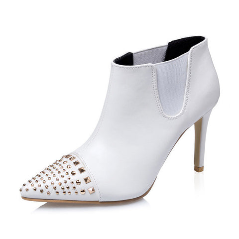 Cool Casual Point Toe Stud Bootie Ankle Heels