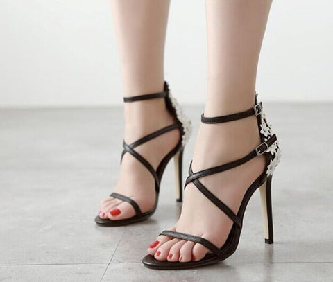 Charming Black Flower Ankle Strap High Heels