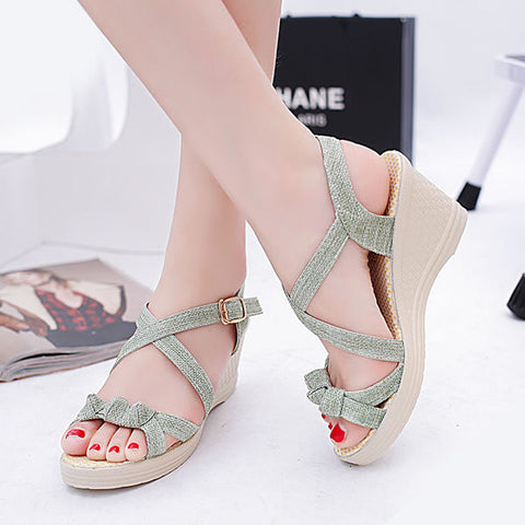 Charming Cross Strap Open Toe Ankle Wedges