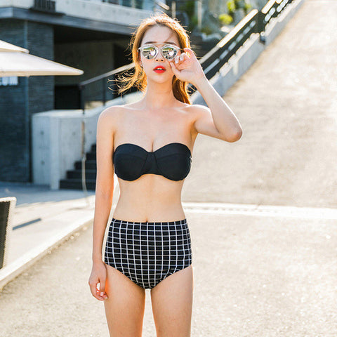 Cool Casual Black Checker High Waist Bikini