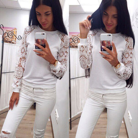 Cool Casual White Lace Sleeve Shirt